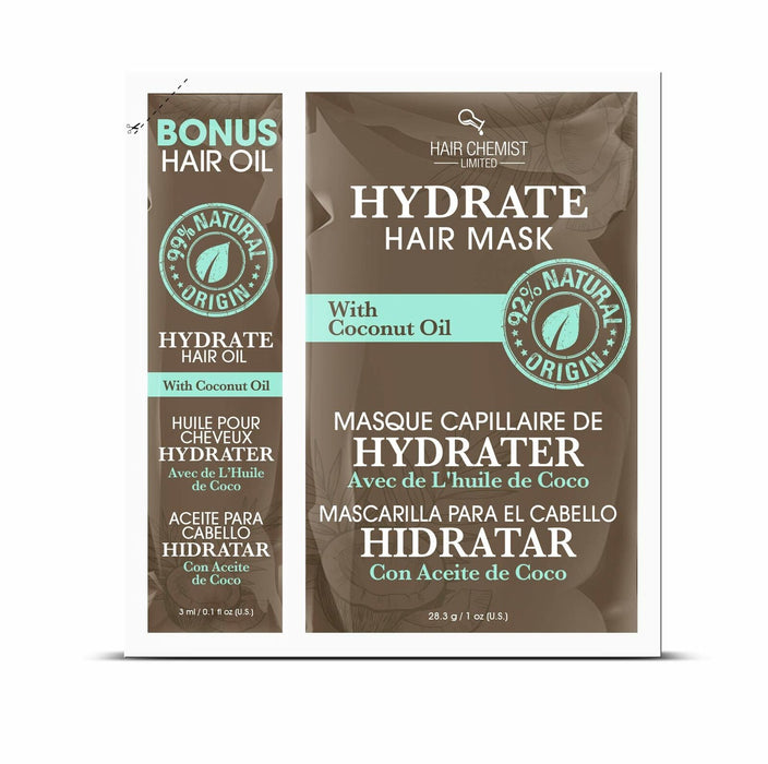 Hair Chemist Hydrate Hair Mask with Coconut Oil Packette 1 oz. (2-PACK)