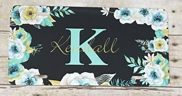 Black Mint Floral Automobile License Plates Monogrammed or Blank