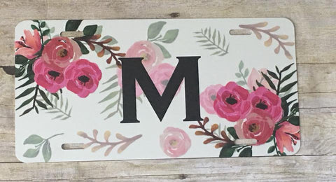 White Floral Automobile License Plates Monogrammed or Blank