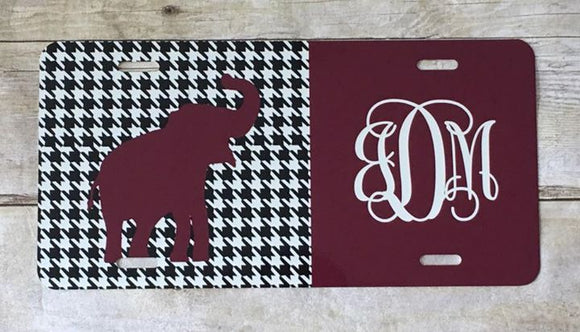 Burgundy Elephant & Houndstooth Automobile License Plates Monogrammed or Blank