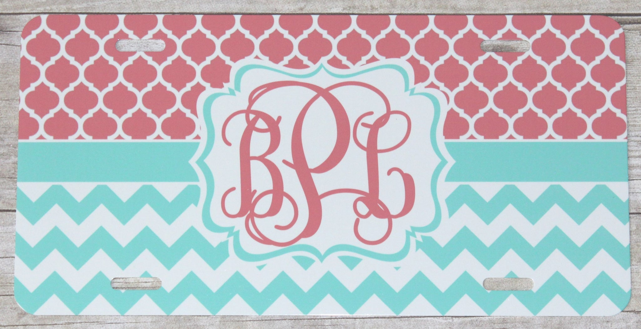 Coral & Turquoise Automobile License Plates Monogrammed or Blank