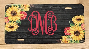 Dark Wood & Sunflower Automobile License Plates Monogrammed or Blank