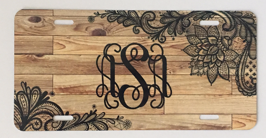Wood & Black Lace Automobile License Plates Monogrammed or Blank