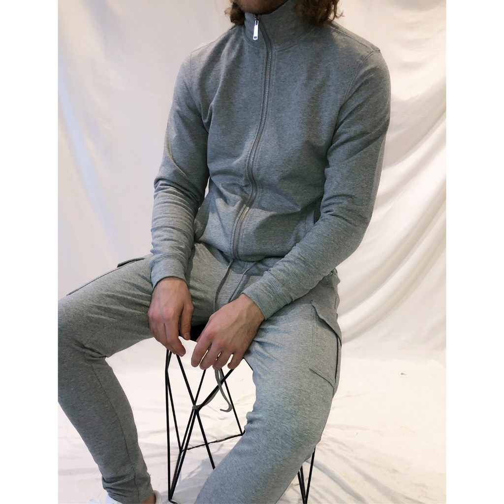 Cargo Track Trousers - Grey Marl