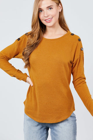 Long Sleeve Round Neck Shoulder Button Detail Brushed Hacci Top