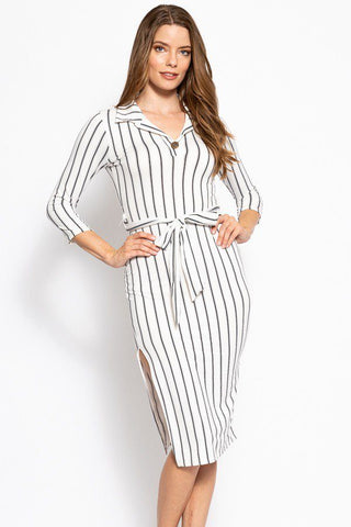 Stripes Print, Midi Tee Dress With 3/4 Sleeves, Collared V Neckline, Decorative Button, Matching Belt And A Side Slit