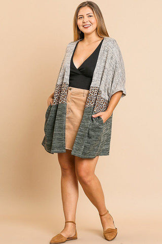 Short Sleeve Knit And Animal Print Color Blocked Open Front Kimono