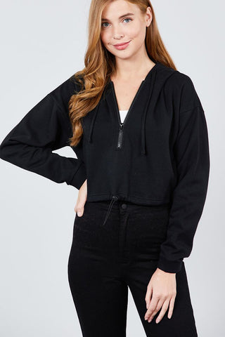 Long Sleeve Zip Up Hoodie Inner Fleece Toggle Elastic Hem Crop Top