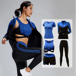 Women's 5 Pc Tracksuit Front Zipper Shorts Bra Top & Pants