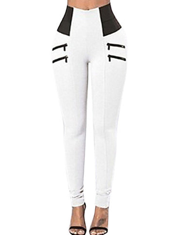 Women's Sporty Legging - Solid Colored, Mid Waist White Black#07413748