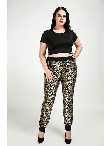 Women's Plus Size Daily / Straight Pants - Leopard Light Brown#06308386