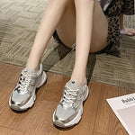 Women's Athletic Shoes Flat Heel Round Toe Leather Running Shoes#07639929