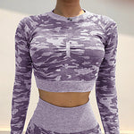 Women's Yoga Top Camo Yoga Gym Workout Top Activewear#07670052