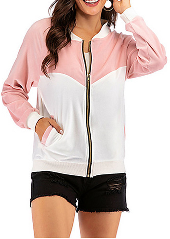Women's Casual Sweatshirt - Color Block Blushing Pink S #07864728