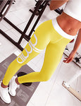 Women's Sporty Legging - Solid Colored / Geometric, Print High Waist#07139690
