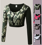 Women's Top Crop Camouflage Long Sleeve T-Shirt#06843851