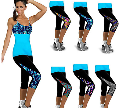 Women's High Waist Pants Print Running Fitness Gym 3/4 Capri Sport Activewear#07432138