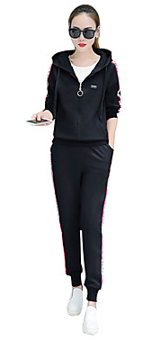 Women's Cotton Tracksuit  Lightweight Sportswear Plus Size  Elastane #06961469