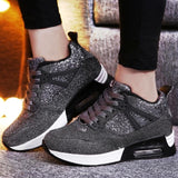 Platform Glitter Sneakers for Running Breathable Shoes Women's Shoes