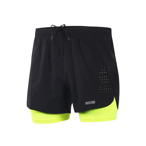 ARSUXEO Men's Shorts Training Exercise  Gym 2 in 1 Shorts with Longer Liner B179
