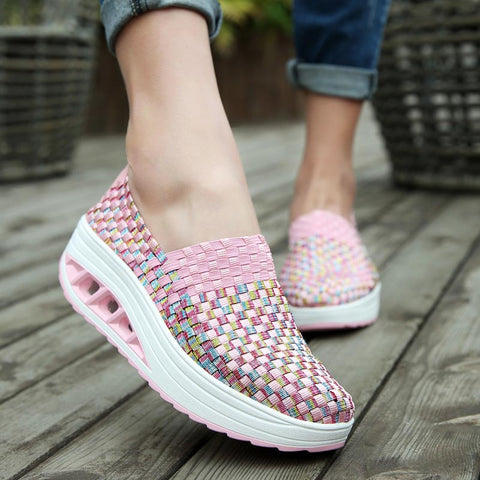 Slip-on Women's Platform Sneakers Slimming Swing Toning Fitness