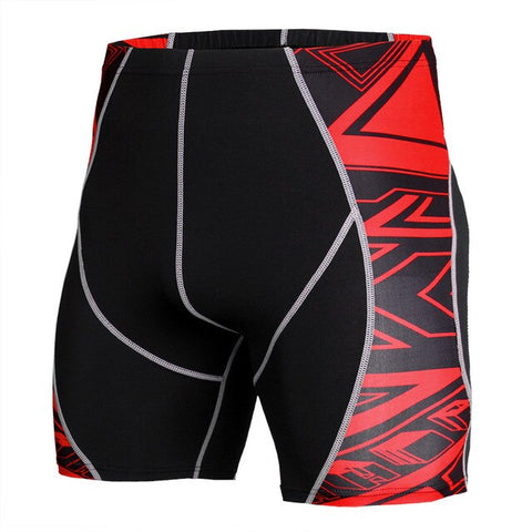 Men's Print MMA Running Shorts Bodybuilding Compression Tight Crossfit Gym Shorts