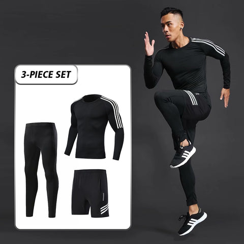 Second skin high quality quick-drying compression men's sports suits clothing sets running athletes sports fitness training