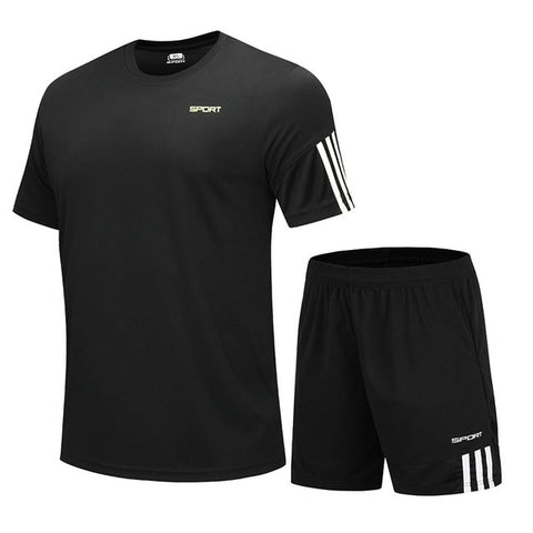 2Pcs/set Men's Sportswear Quick Dry Running Shorts Fitness T-shirts Tracksuits