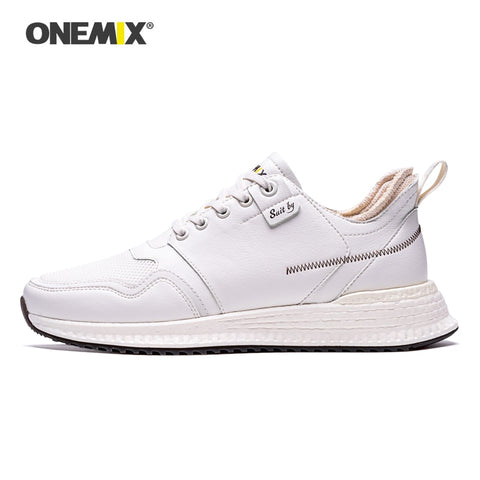 ONEMIX Sneakers for Men Comfort Leather Surface Lace Up RB Outsole Shoes