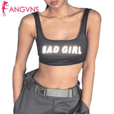 Women Letter Print Reflective Tank Top Active Summer Wear Sporty Tanks