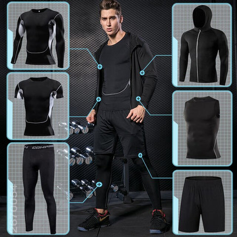 Men's Fitness Athletic Workout Suits Sports clothing Tracksuit Dry Fit