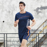 Men's Gym Summer Sports Suits Quick Dry 2pcs  Sports T-shirts+Shorts
