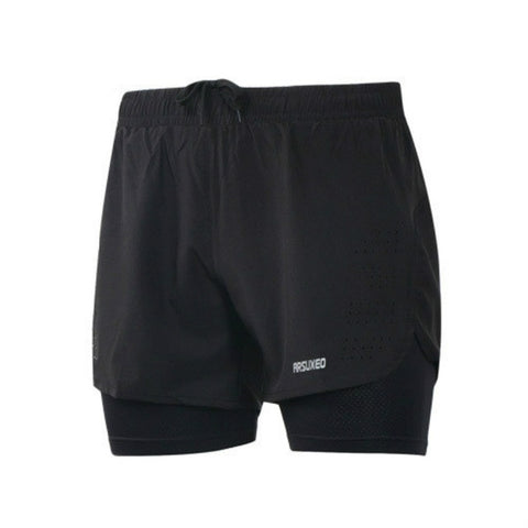 ARSUXEO 2-in-1 Men's Shorts with Waist Rope Zipper Pocket with Long Liner