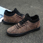 Men Flats Shoes Popular Style Walking Comfortable Lace Up Leather Athletic Shoes