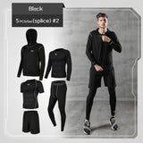 5pc set Men's Gym Workout Fitness Compression Clothes Jogging Sport Wear