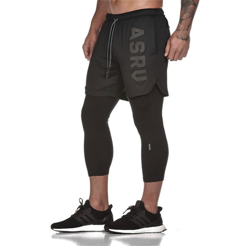 Men's Pants Fitness Tight Elastic Running Pants FAKE 2 IN 1 Leggings Ankle-length