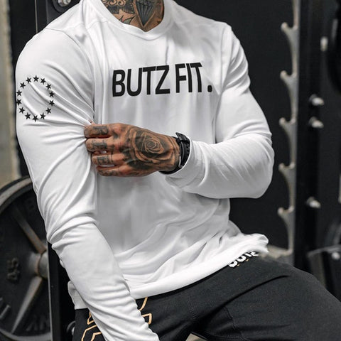 Men's T Shirt fitness long sleeve Shirt Slim Fitness bodybuilding Running T-shirt
