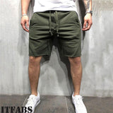 Casual Solid Men's Short Pants Pocket Drawstring Summer Jogging Shorts  Gym Clothes