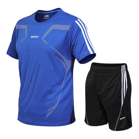Men's fitness running gym bodybuilding training short sleeve Shirt / Shorts