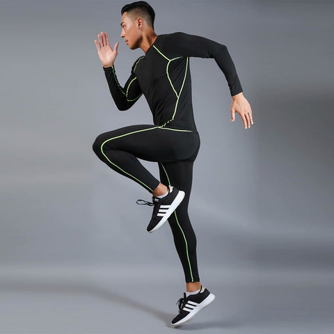 Men's Breathable Running Jogging Suit Athlete Fitness Exercise Suit