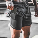 NEW Men's Running Shorts 2 in 1double-deck men Shorts Gym Shorts