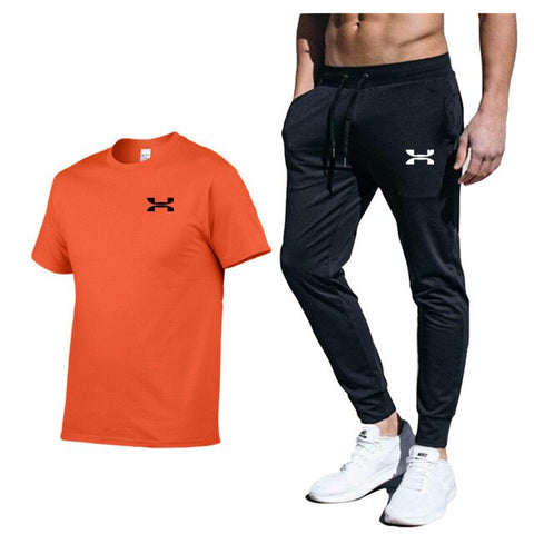 Brand Clothing Men's Fashion t-shirts + Pants Workout Tracksuit Casual Sportswear