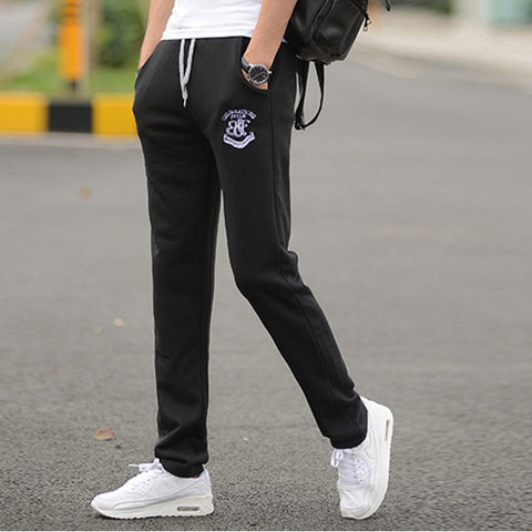 Men's Sports Running Pants Joggers Loose Straight Barrel Trousers Embroidery Pattern