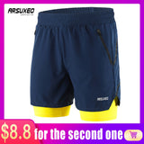 ARSUXEO Men's Shorts 2 in 1 Athletic Training Exercise Gym Shorts B191
