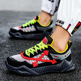 Chunky Sole Men Footwear Run Athletic Shoes Black Fitness Runners Jogging