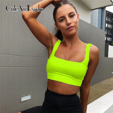 Neon Green Workout  Tops Active Wear Backless Crop Topsl Summer Tops