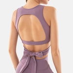 Shoulder Vest Sleeveless Top Women Twist Front Cutout Back Bowknot  Sports Bra