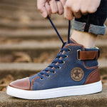 Canvas Shoes Men Classic High Tops Sneakers Leather Lace Up Non-slip Shoes