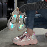 Women's  2020 Lace Vulcanized Shoes Ladies Luminous Casual Fitness Shoes