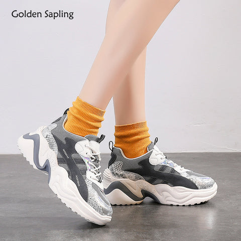 Golden Sapling Platform Sneakers Summer Breathable Air Mesh Trainer